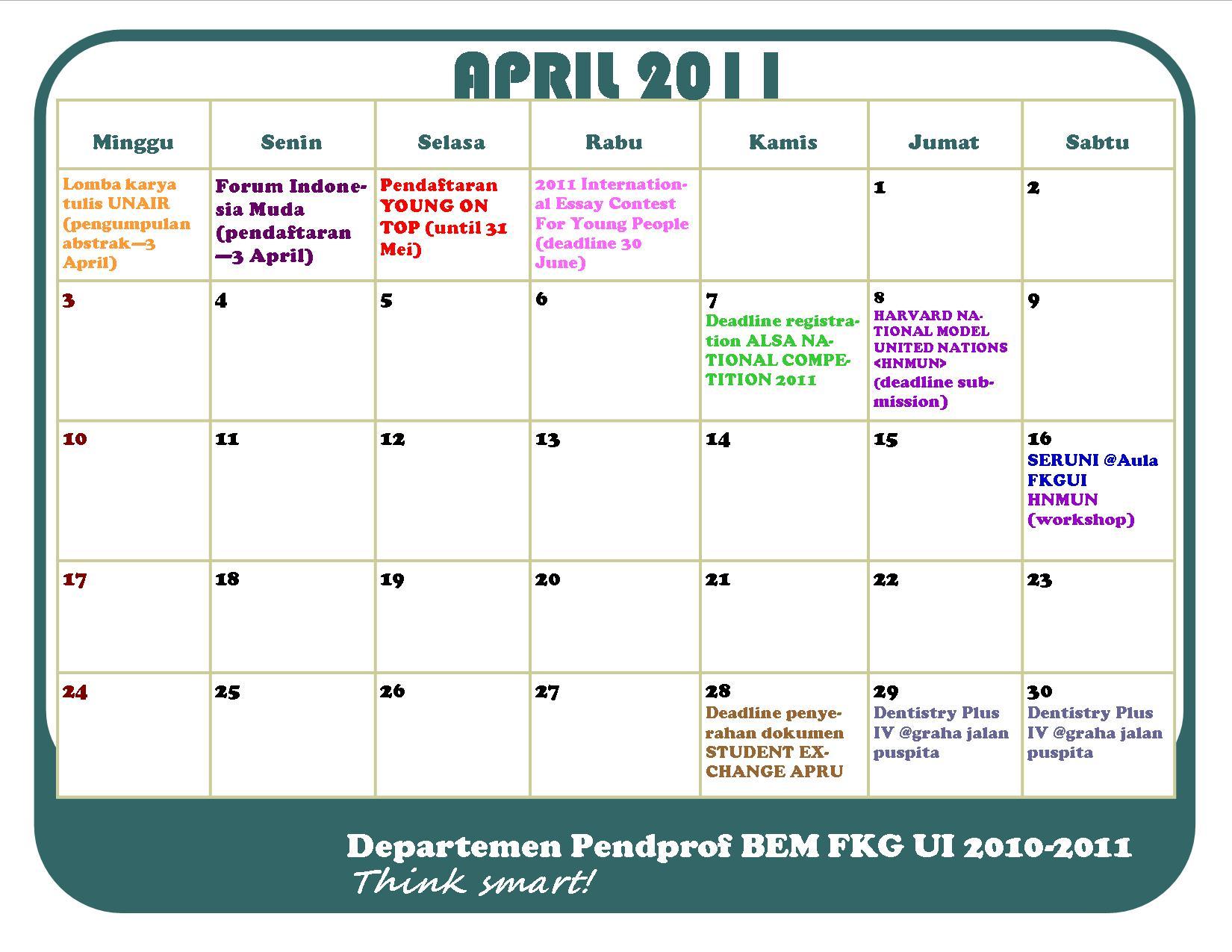 Kalender Bulan April : Kalendar p cab bulan april pendprofsmart