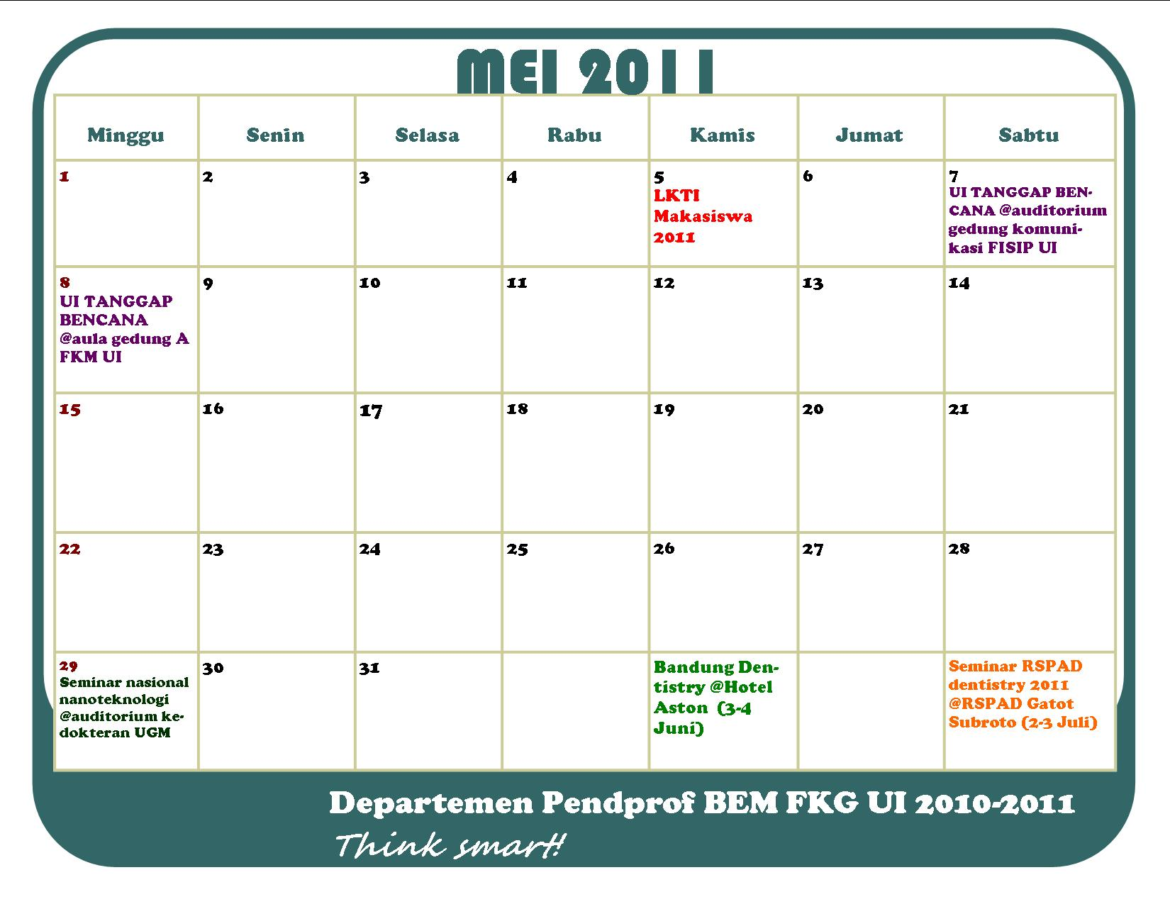 Bulan 2011 Kalender P-cab Bulan Mei 2011