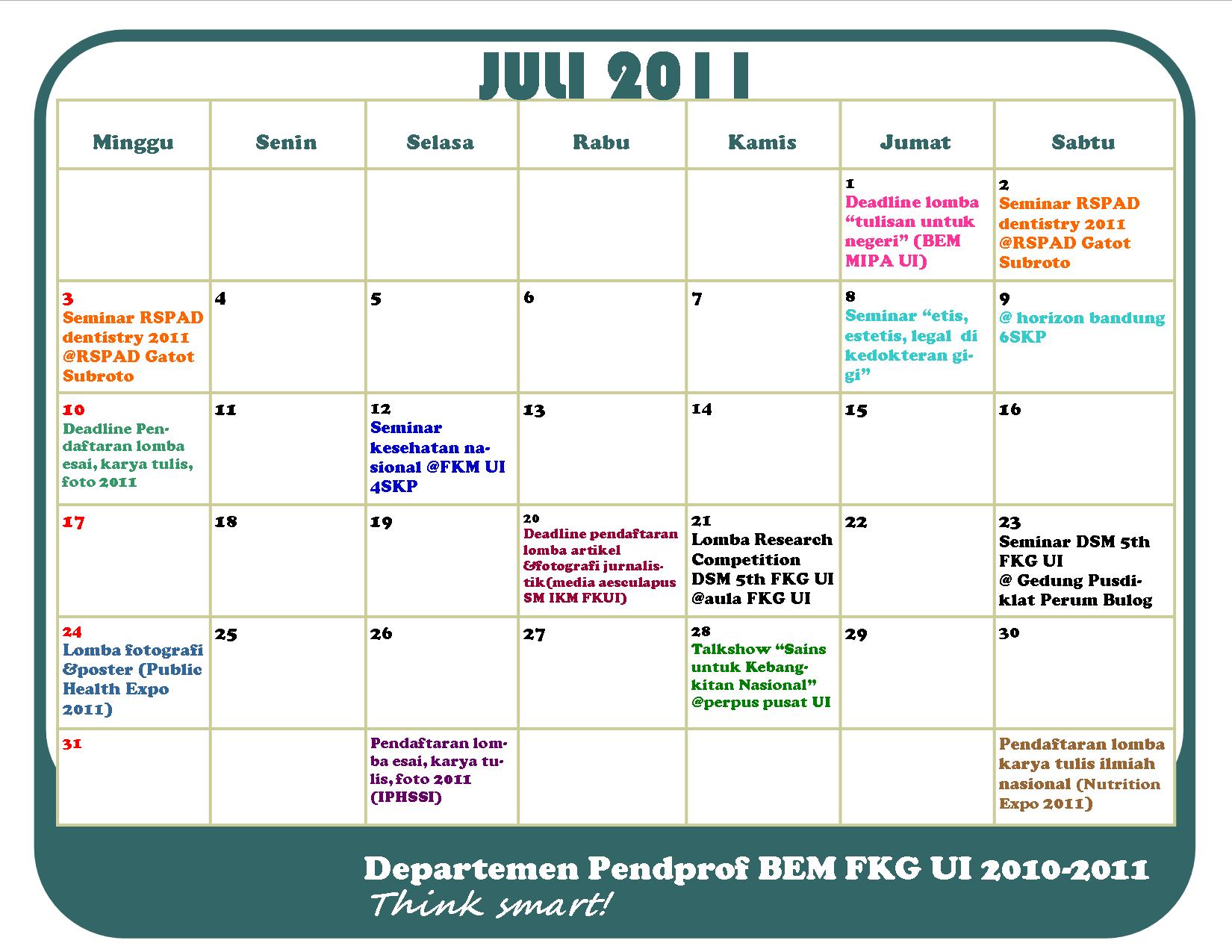 Bulan 2011 Kalender Pcab Bulan Juli 2011